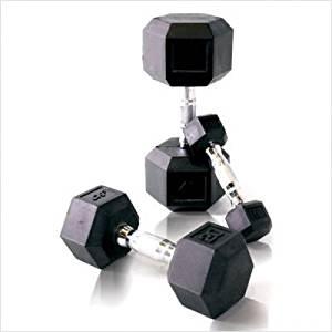 3b1129552 Get Quotations · CAP Barbell 150 lb Rubber Hex Dumbbell Set
