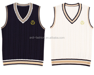 wholesale high student school v-neck cable knitted sweater vest uniforms