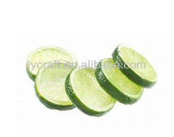 PVC fake juice green lime slice pieces sample modle, fake fruit for decoration display