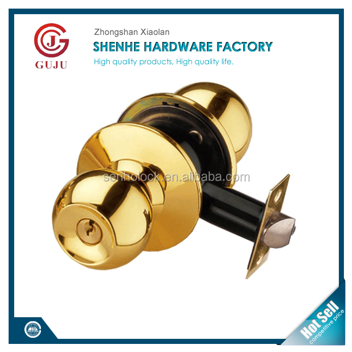 North America Polished Brass finish brass cylinder brass keys high safety round knob door lock