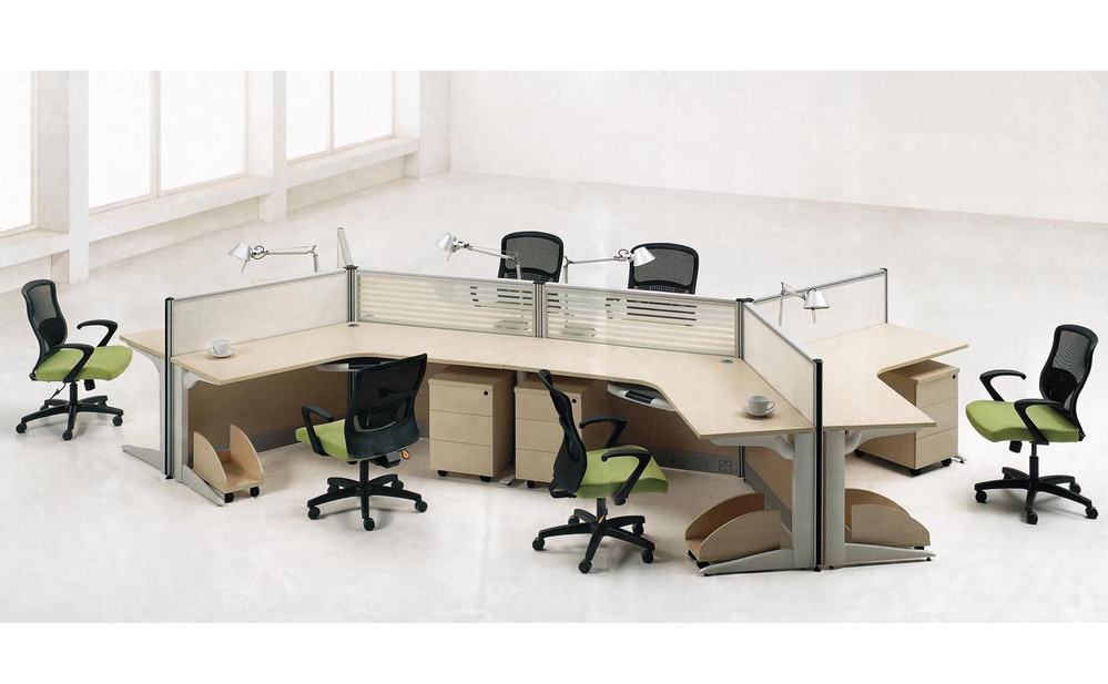 Mdf white color table 4 clusters office work station for Table 6 4 specification for highway works