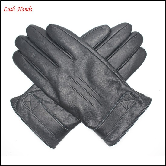 mens leather gloves black driving leather gloves winter