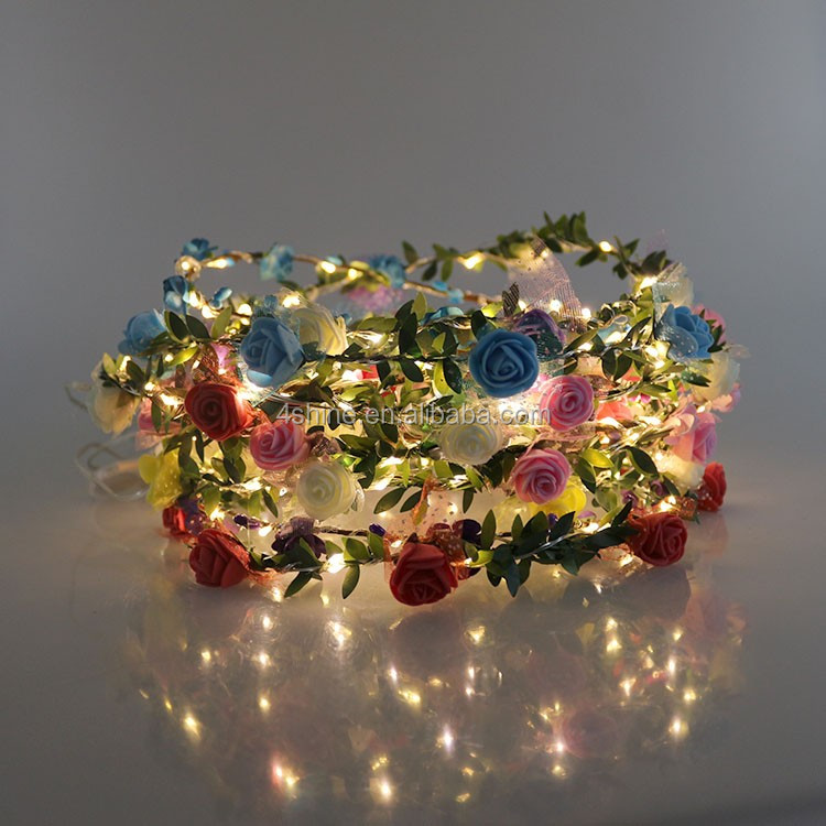 Led Hair Decoration Angel Garland Flower Wreath Rose Clips Led String Light - Buy Glow In The ...