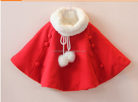 fashion bow baby fleece winter poncho pom poms kids cape coat