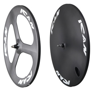 Carbon track bike wheels tri-spokes solid disc carbon wheels TT wheel