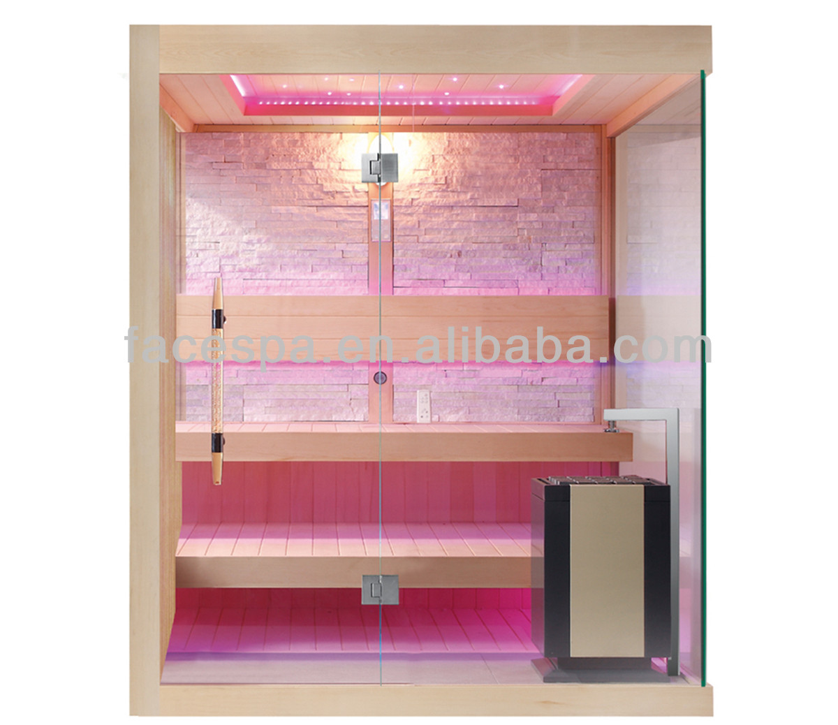 Moderne sauna, luxe houten stoomcabine met 2 stappen stoel voor 4 ...