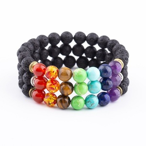 Best Selling Products 8mm Natural Healing 7 Chakra Lava Beads Yoga Bracelet For Gifts