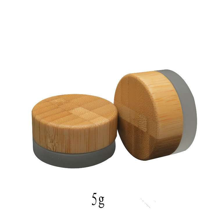 5g 5ml matt frosted glass cream box cosmetics packing container 5g makeup jar with bamboo cover wooden lid 5ml