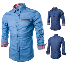 2015 Spring Autumn Features Leather Pocket Shirts Casual Jeans Shirt New Arrival Long Sleeve Casual Slim Fit Male Shirts