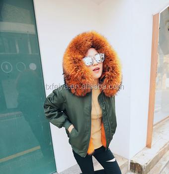 faeed33f4 Fashion Raccoon Fur Collar Fur Lining Short Coat Winter Women Bomber Jacket