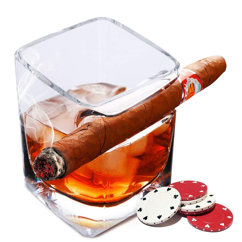 Deluxe Edition Cigar Glass – Premium Quality Whiskey Glass with Cigar Rest – Ideal for Bachelor Parties, Poker Night, Parties – Practical and Elegant Design – Original Gift Idea