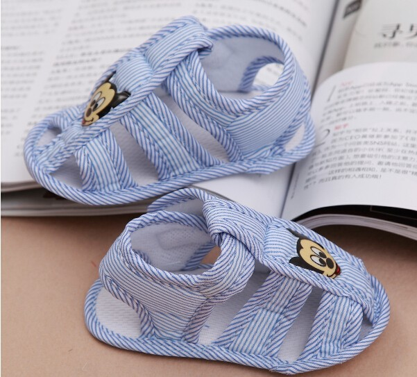 Cute lovely gifts fashion pair Baby first walkers Stripe mickey Baby Shoes girls Soft Sole blue