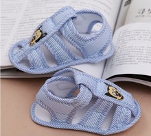Cute lovery gifts fashion pair Baby first walkers Stripe mickey Baby Shoes girls Soft Sole blue sandals