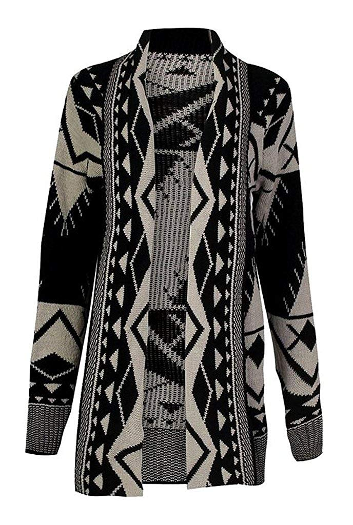 Get Quotations · Rimi Hanger Women s Tribal Aztec Print Knitted Boyfriend  Cardigan Sweater Top ... d2ec93c69