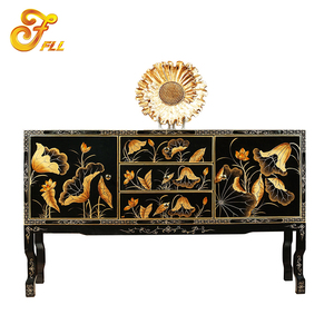 hallway classic luxury wood carved console table