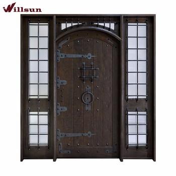 Retro Shop Exterior Doors Wooden Door Panels Rustic Wrought Iron