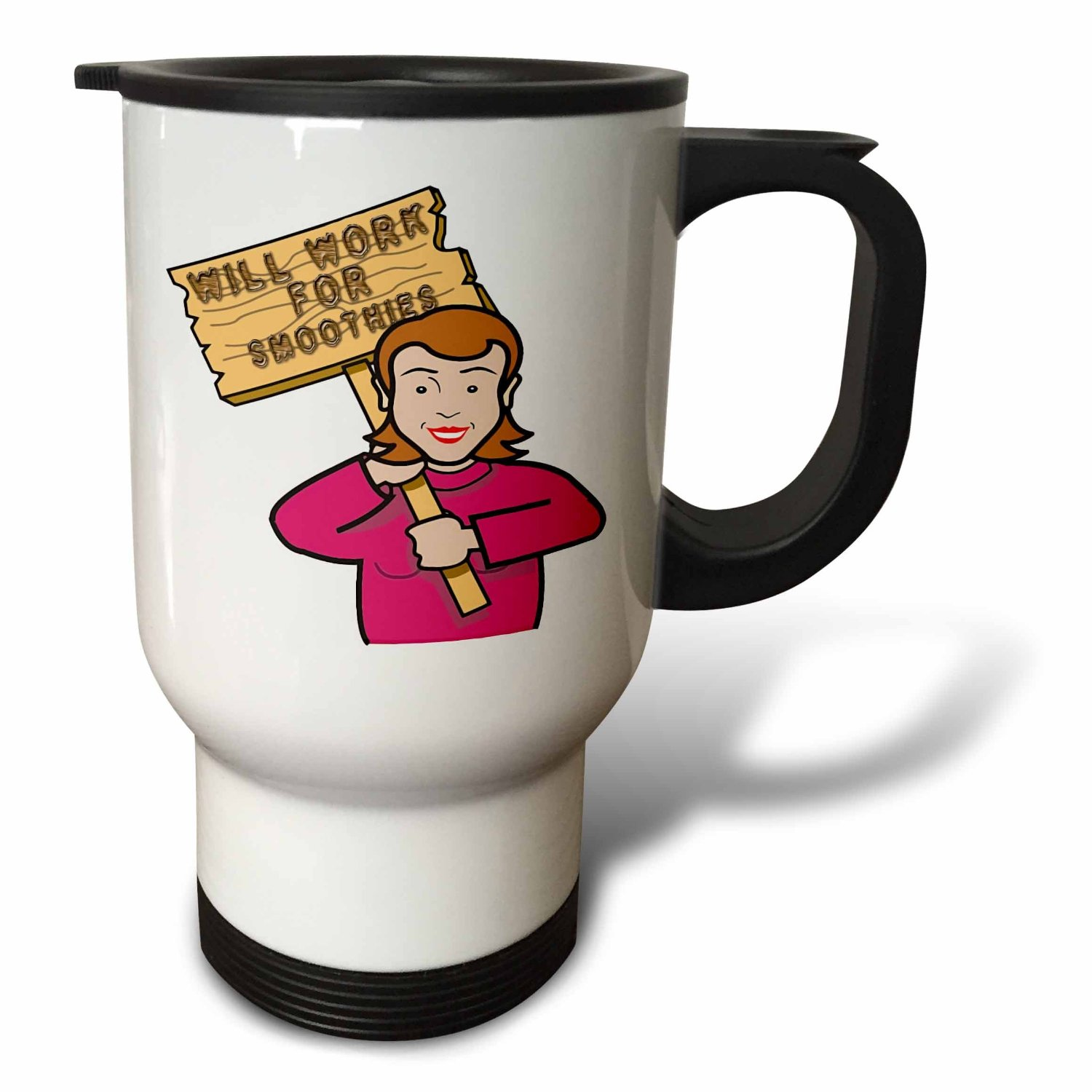Dooni Designs Humorous Bribery Signs Sarcasm Designs - Funny Humorous Woman Girl With A Sign Will Work For Smoothies - 14oz Stainless Steel Travel Mug (tm_117404_1)