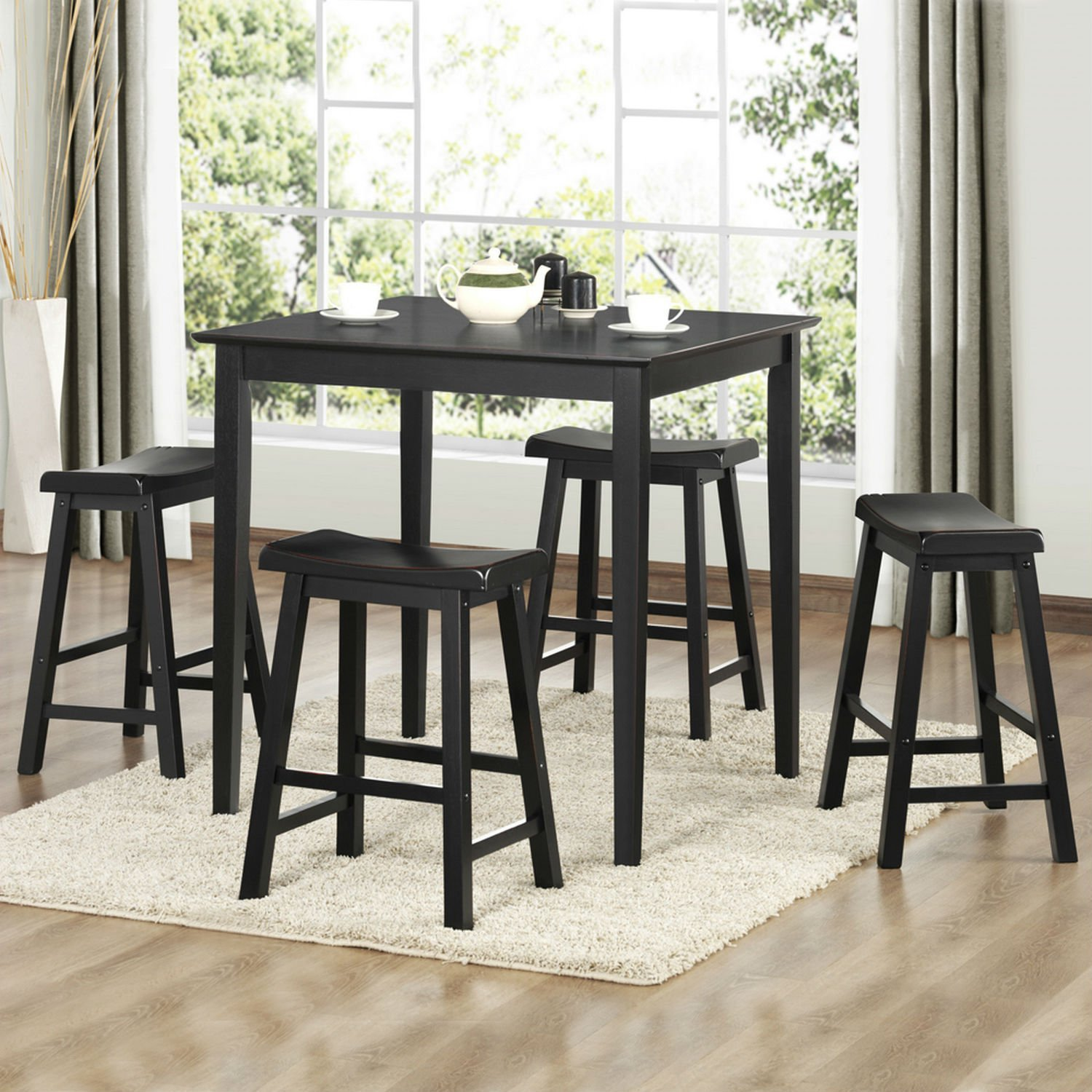 Get Quotations · 5 Piece Pub Set comes with 4 saddle stool bar seats and 1 dining dinner table & Cheap Pub Bar Table Set find Pub Bar Table Set deals on line at ...