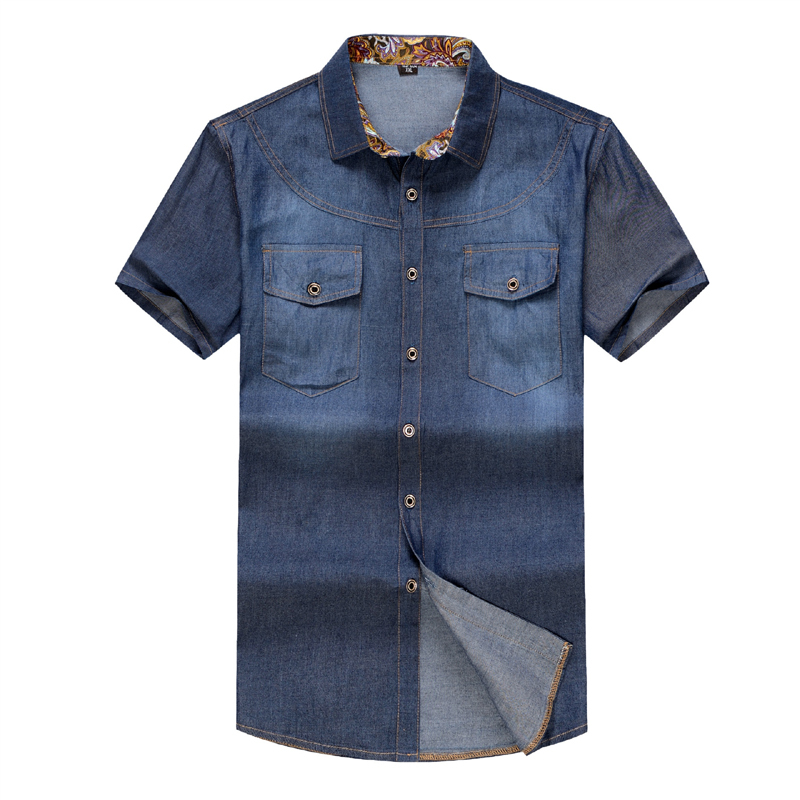 Plus Size Men Denim Shirts 6XL Cotton Slim Fit Famous Brand 2015 Summer New Short Sleeve Jeans Shirts Social Men's Dress Shirts