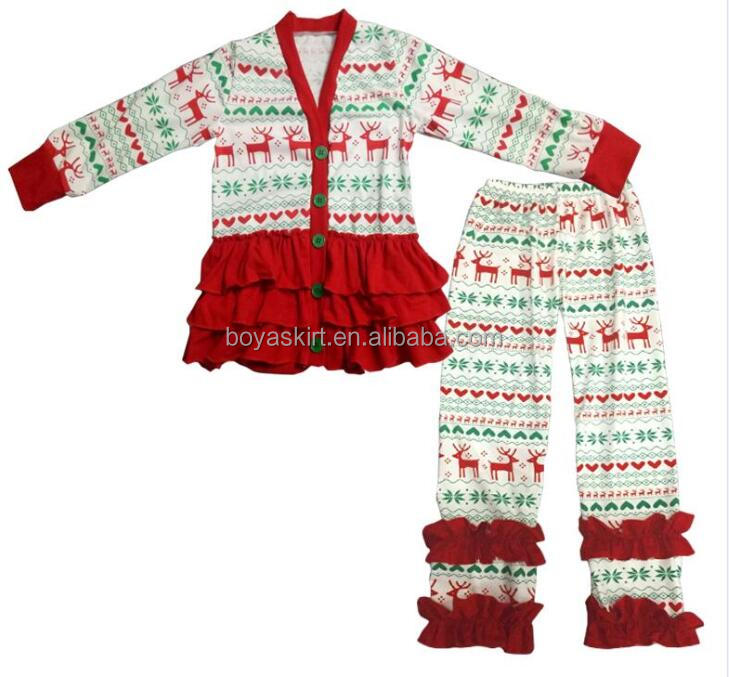 Wholesale christmas Clothing Sets deer Printed Long Sleeve Baby coat Wholesale Toddler Home Clothes