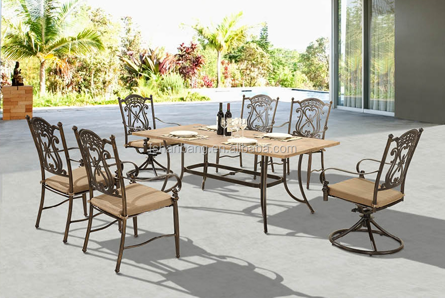 Premium quality garden patio terrace deck cast aluminum for Table 16 personnes