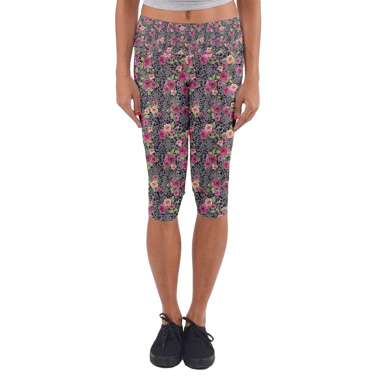 428b74e8ab0 Get Quotations · 07Secret Womens Colorful Animal Print Rose Patterned Capri Yoga  Leggings