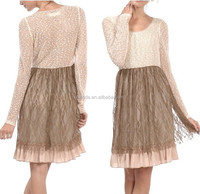 LACE TOP BOTTOM CONTRAST LONG SLEEVE DRESS COLLECTION FASHION DRESS MODELS DESIGNS SUMMER TRENDY