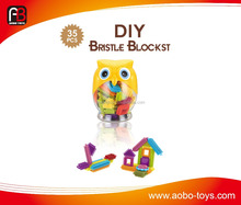 Educational toy DIY bristle building blocks sets intelligent soft blocks toy