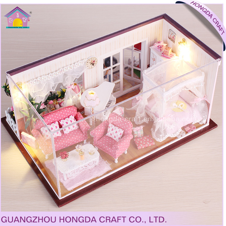 Unfinished with intelligent voice control light dollhouse modern miniature furniture,cheap miniature furniture