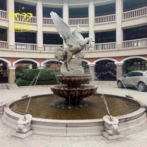 Outdoor Garden Home Decor China Suppliers Marble Pot Type Water Fountain With Winged Horse Sculpture