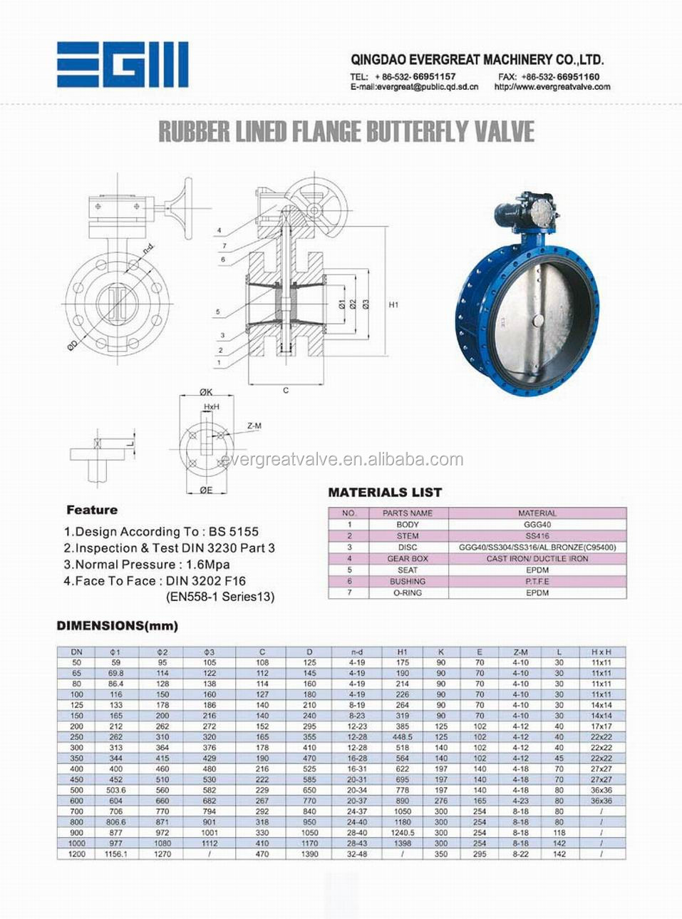 Rubber Lined Flanged Butterfly Valve Pn16 View Butterfly