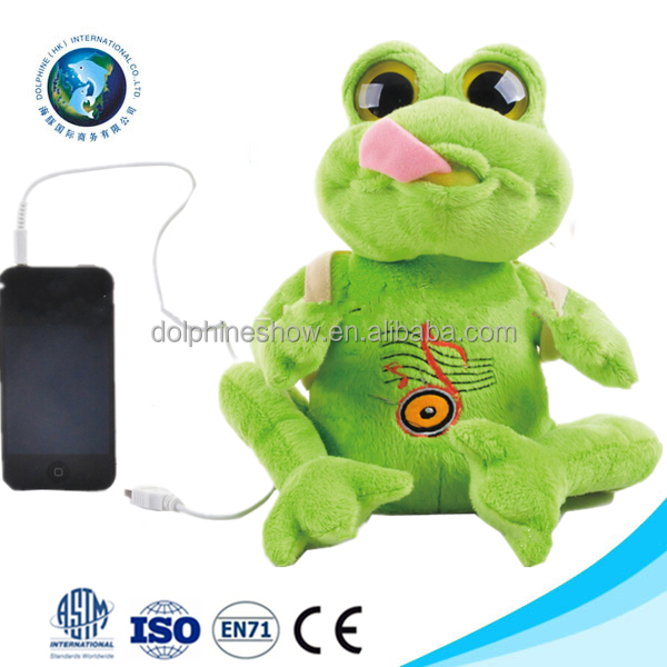 Best children toy cute green frog plush bluetooth toy custom new stuffed plush toy with speaker