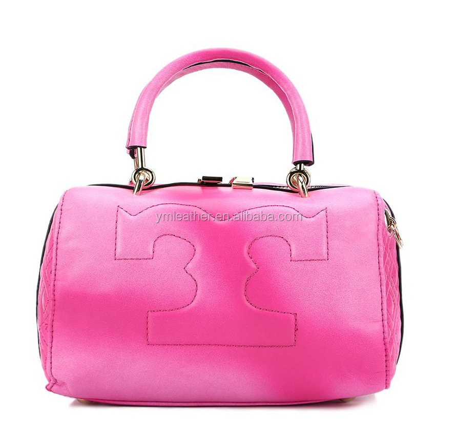 2016 new style rose red special dyeing box-type handbag women