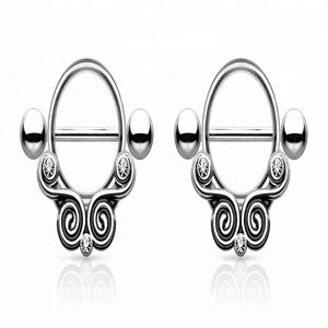 Inlay Gems 316L Surgical Steel Nipple Shields Rings Body Jewelry