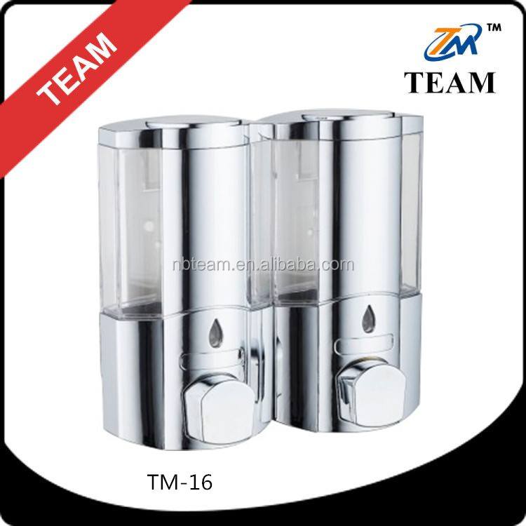 TM-16 cheap bathroom shower accessory wall mounted hotel shampoo dispenser double palstic liquid soap dispenser