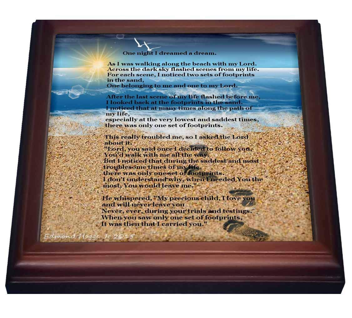 "3dRose trv_204469_1 Footprints in The Sand on Beach with Poem Trivet with Ceramic Tile, 8 by 8"", Brown"