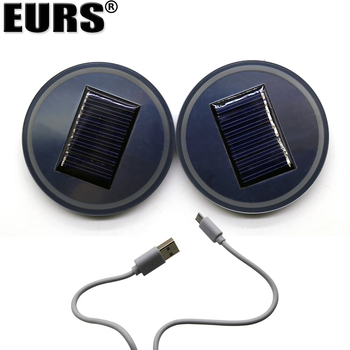 EURS 2PCS RGB Lamp cup mat colorful silicone solar charge + USB charge 68mm Auto led atmosphere light usd car
