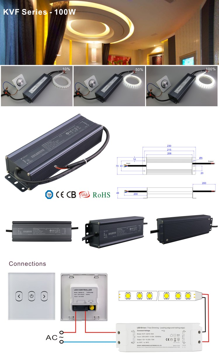 12V 24V DC Output 30W 60W 75W 80W 90W 100W 120W 150W 200W 300W 320W 360W Waterproof Electronic Triac Dimmable LED Driver