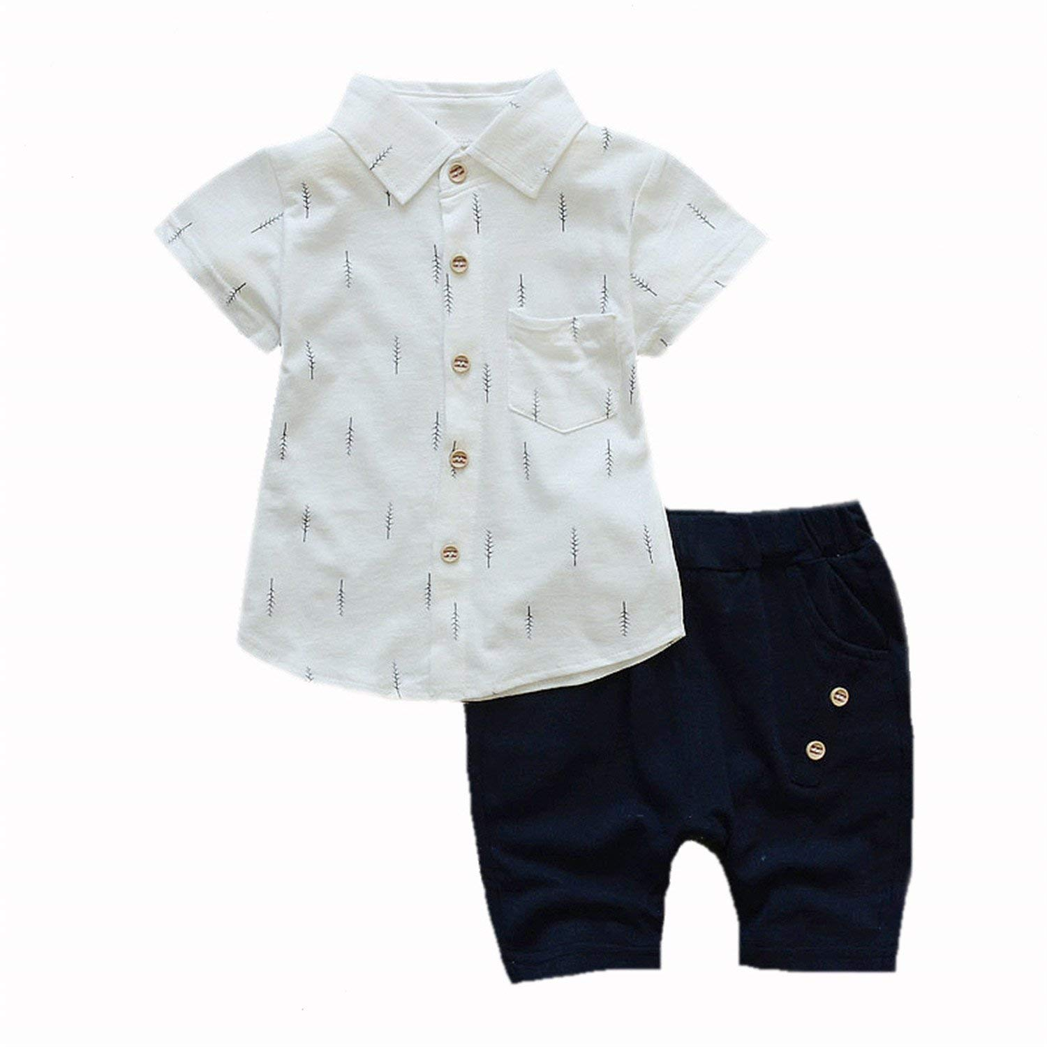 e33af878655d6 Get Quotations · Mandaartins Baby Boys Summer Set Print Shirt + Short Pants  Toddler Shorts