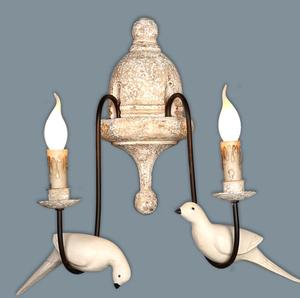 French Retro Bird lights rusted arm wall sconce,single light wood wall lamp,bedroom corridor linen shade sconce