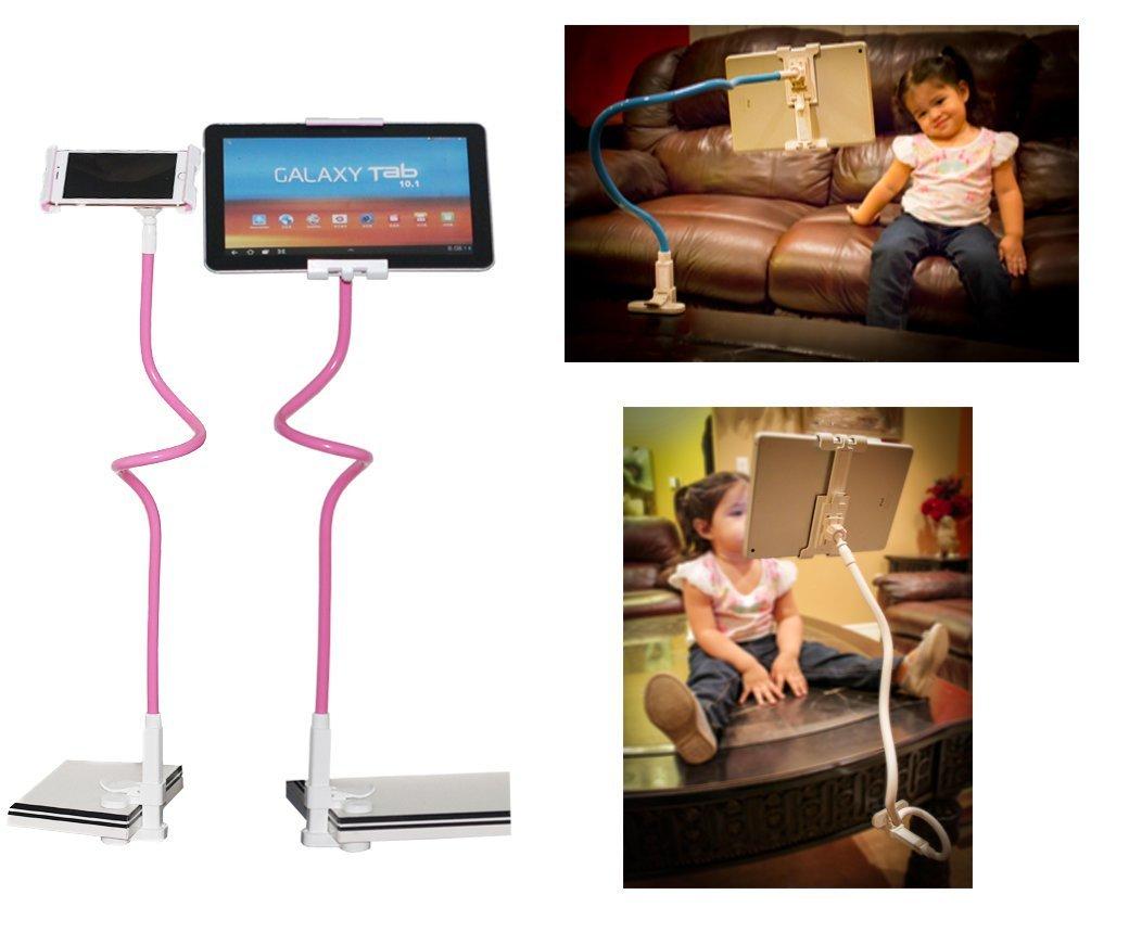 Universal Flexible Long Arms Tablet Holder Support 360-degree Rotating With Gooseneck Mount Clip-on Holder Kit Hands Free Tablet Mount for Bed, Car, Desktop, Chair holder for Tablets(Pink)