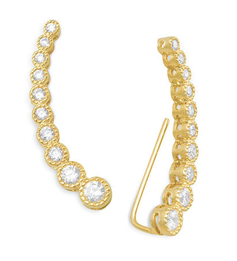 14K Gold Plated .925 Sterling Silver Ear Climber Earrings, 1.7-3.5mm CZs, 1-1/4 inch long