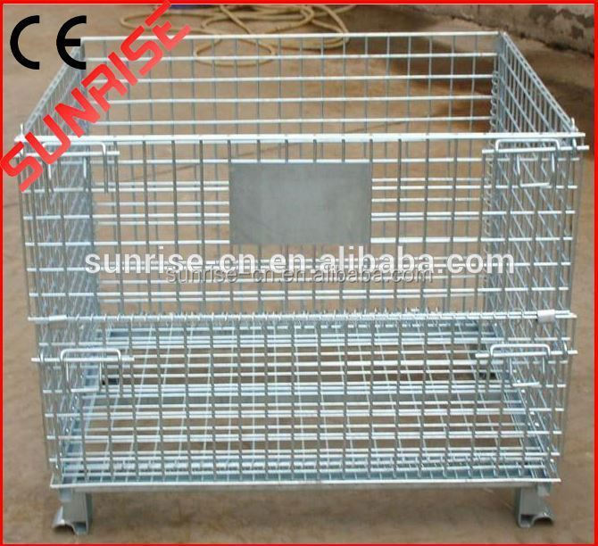 Storage Wire Pallet Container Stackable Wire Mesh Pallet Cage