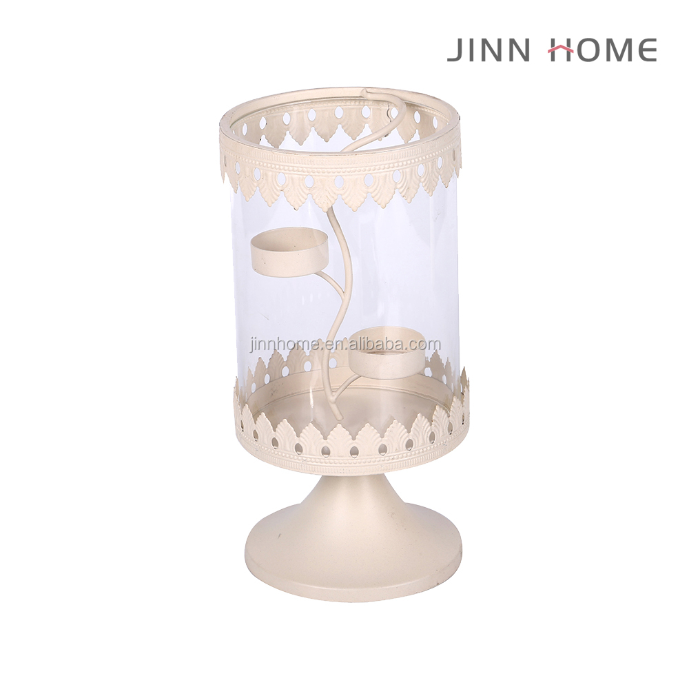 color home decoration tabletop wrought iron knitted white candle holder for wedding with reflection