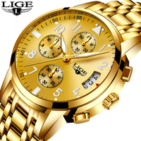 LIGE Mens Watches Top Brand Men's Gender Quartz Sport Full Steel Waterproof Gold watch