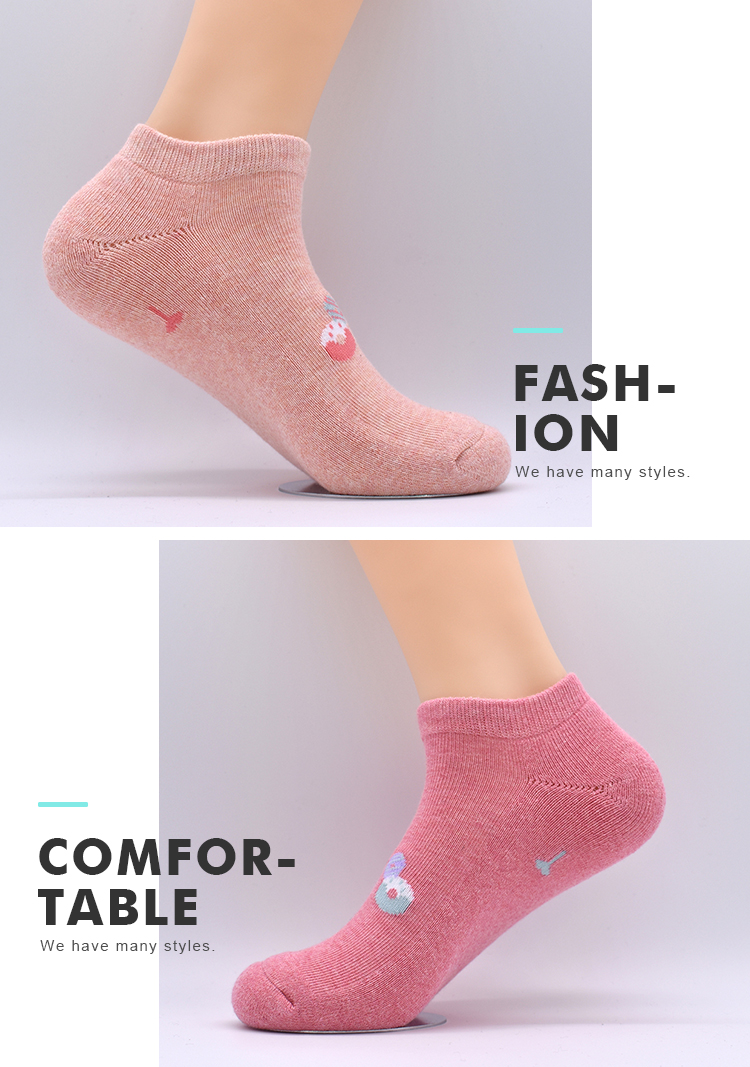 High Quality Breathable Seamless Thick Plain Printed Cute cotton Custom Women Wholesale Ankle Socks