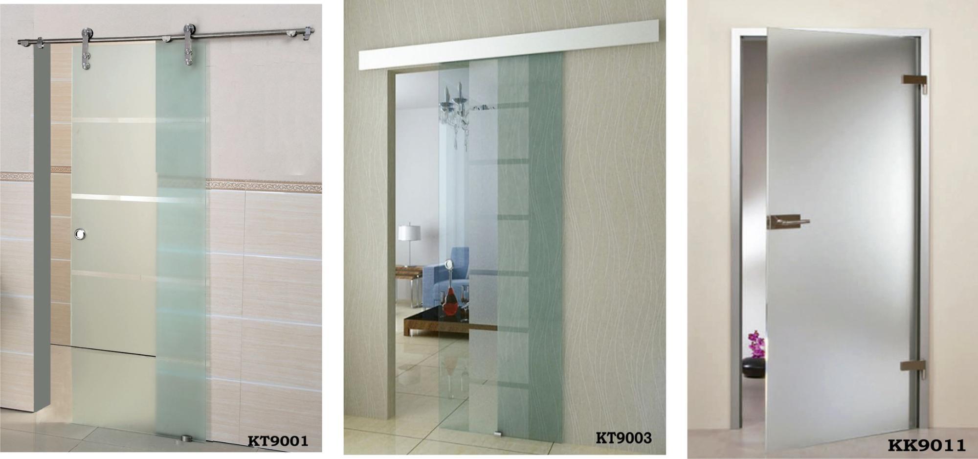 Puertas de baño de entrada de vidrio con marco de aluminio (KT9003)