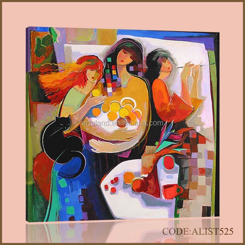 Pintado A Mano Venta Caliente Abstracta Moderna Al óleo Chica Sexy Pintura De Mujer Y Gato Para La Decoración Casera Buy Sexy Girl Pintura Al
