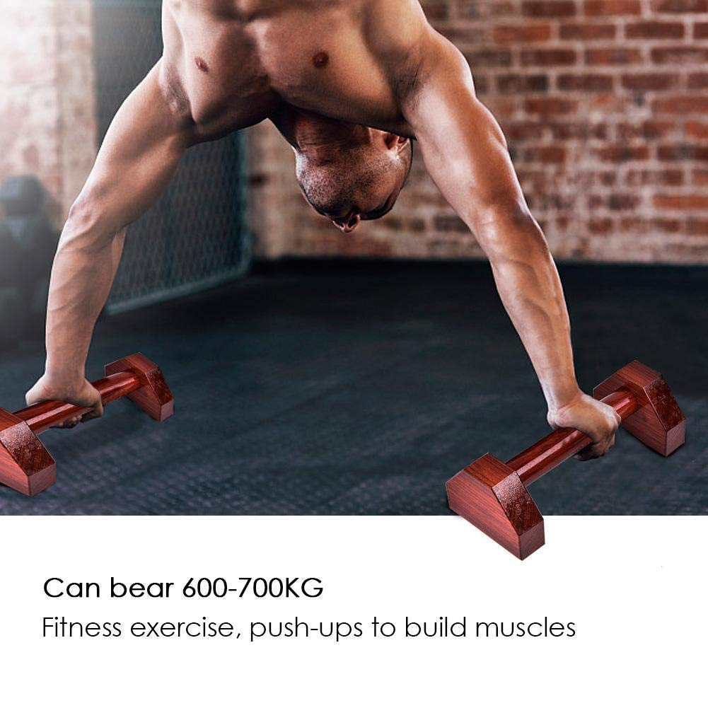 Push Up Bars Pushup Elite Red Rosewood Wooden Push-Ups Double Rod Support Fitness Stand Handle Fat Burning & Full Body Training for Chest & Arms Tool