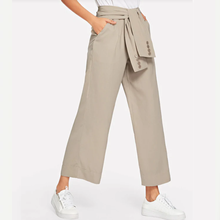 office lady palazzo <strong>pants</strong> linen <strong>pants</strong> <strong>for</strong> <strong>Women</strong> runway buttons <strong>design</strong> <strong>trousers</strong>